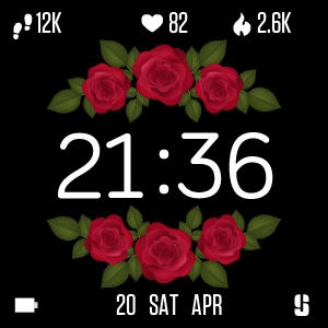 Watch face Six roses for Fitbit Versa