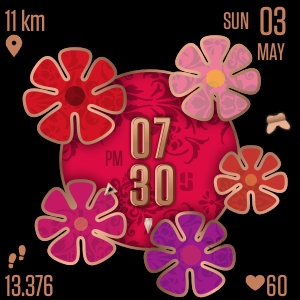 Watch face Summer Flowers for Fitbit Versa