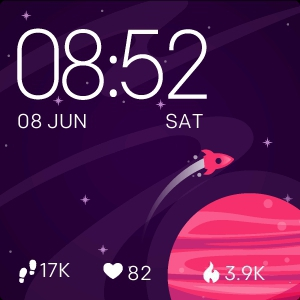 Watch face Rocket at Mars for Fitbit Versa